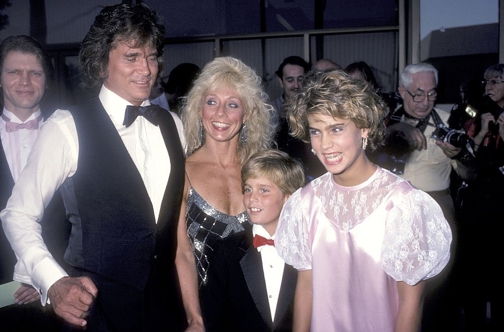 """Actor Michael Landon, wife Cindy Landon and his kids Christopher Landon and Shawna Landon attend the """"Sam's Son"""" Beverly Hills Premiere on August 15, 1984. 