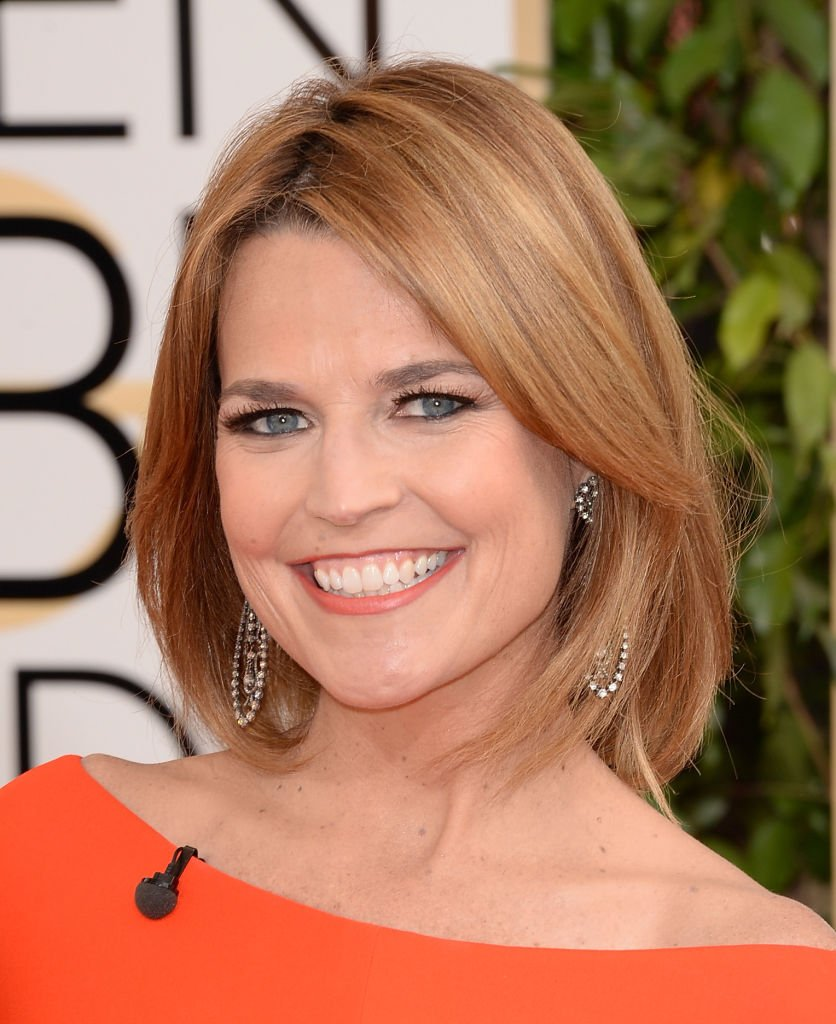 """The """"Today"""" show co-host Savannah Guthrie flashes a beautiful smile at """"The Golden Globes"""" in Beverly Hills, January, 2014. 