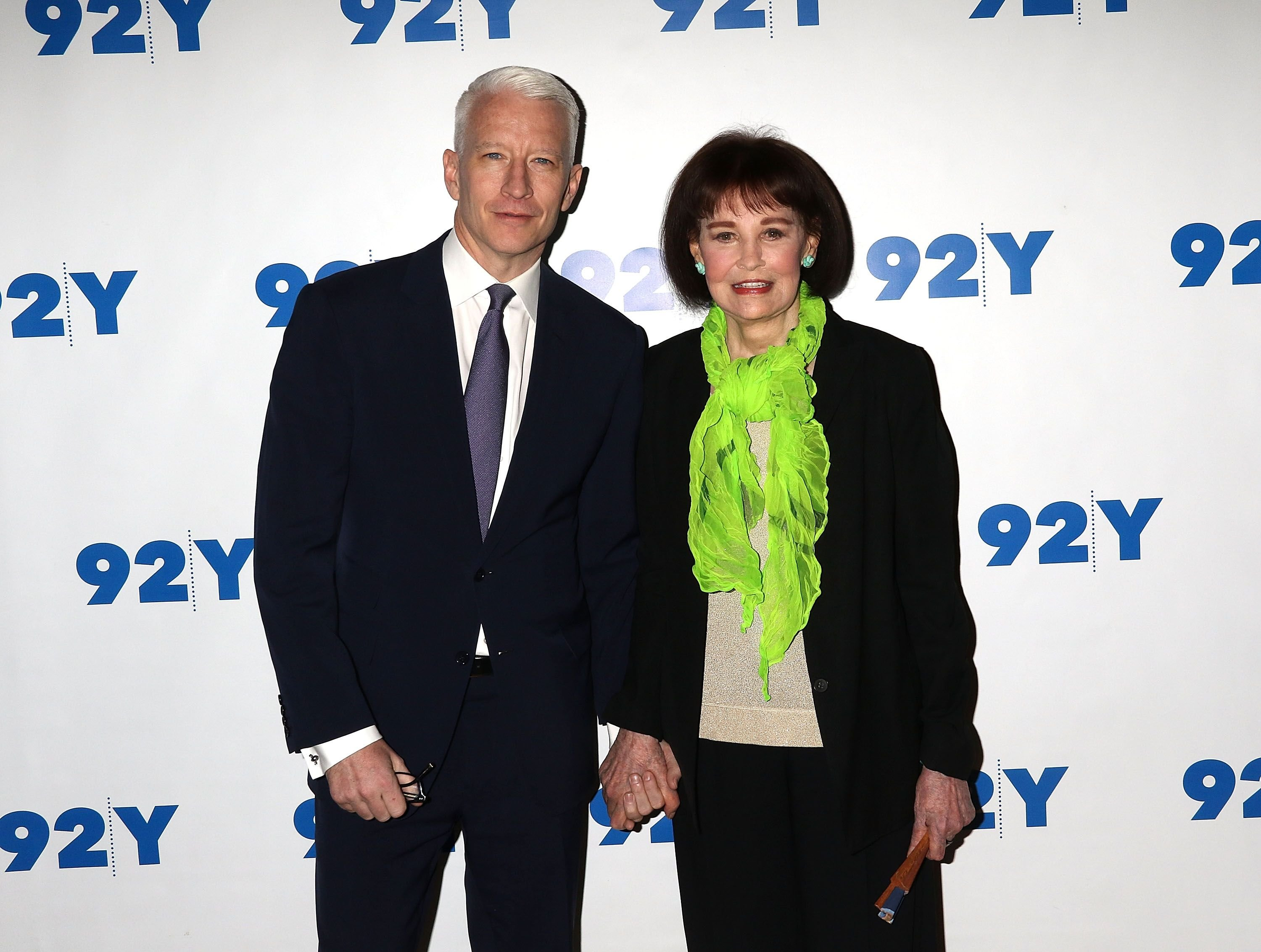 "Anderson Cooper and Gloria Vanderbilt at ""A Conversation with Anderson Cooper and Gloria Vanderbilt"" on April 14, 2016, in New York City 