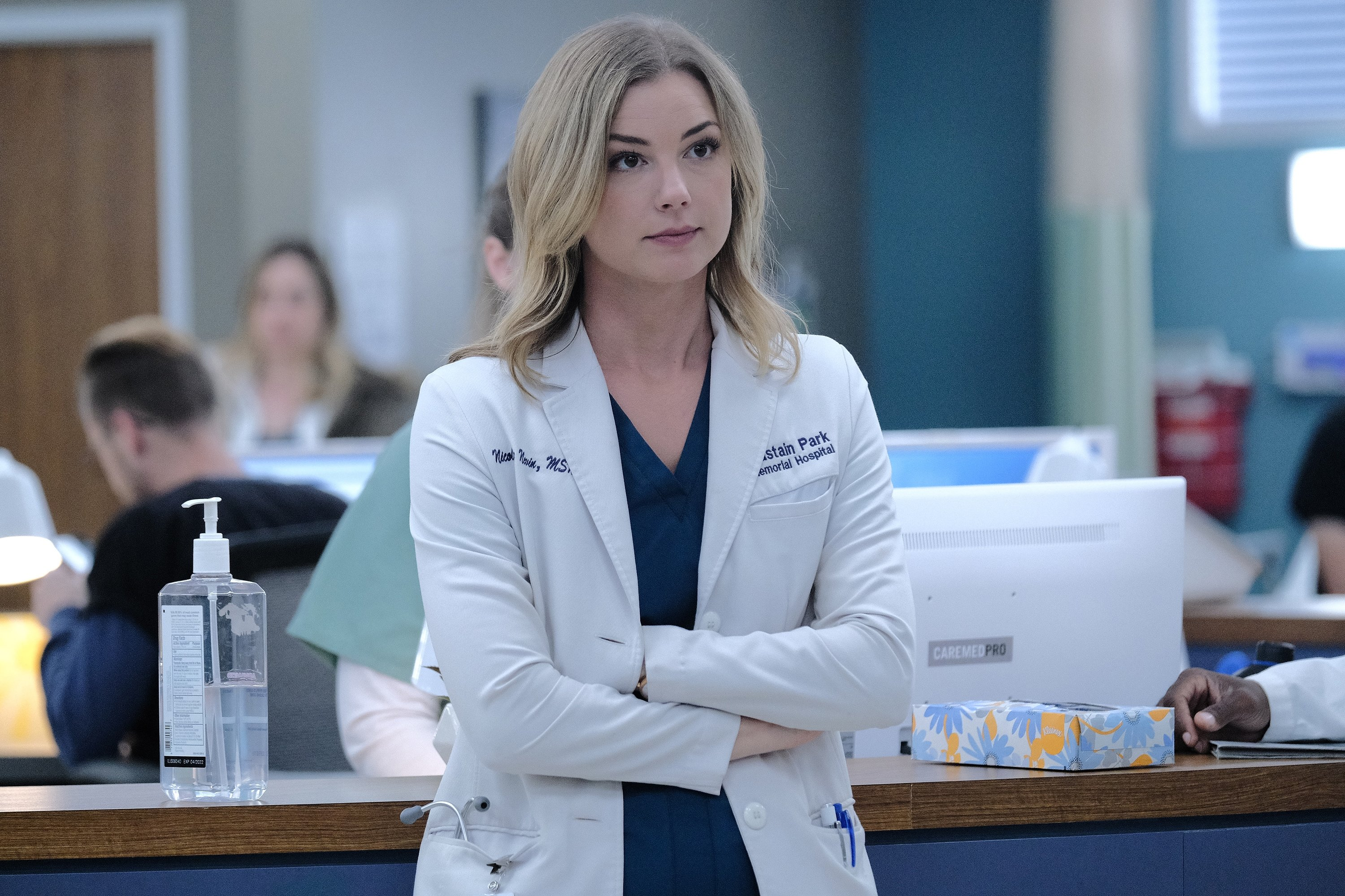 """TV star Emily VanCamp onset during the """"Whistleblower"""" fall finale episode of """"The Resident"""" on December 17   Photo: Getty Images"""