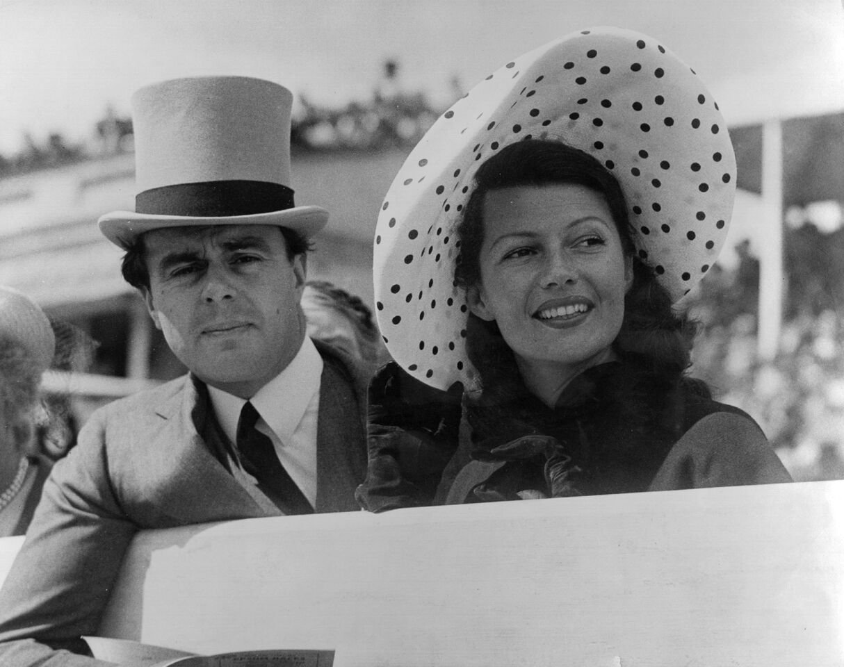 Prince Aly Khan at Epsom races with his wife, Hollywood actress Rita Hayworth.   Source: Getty Images