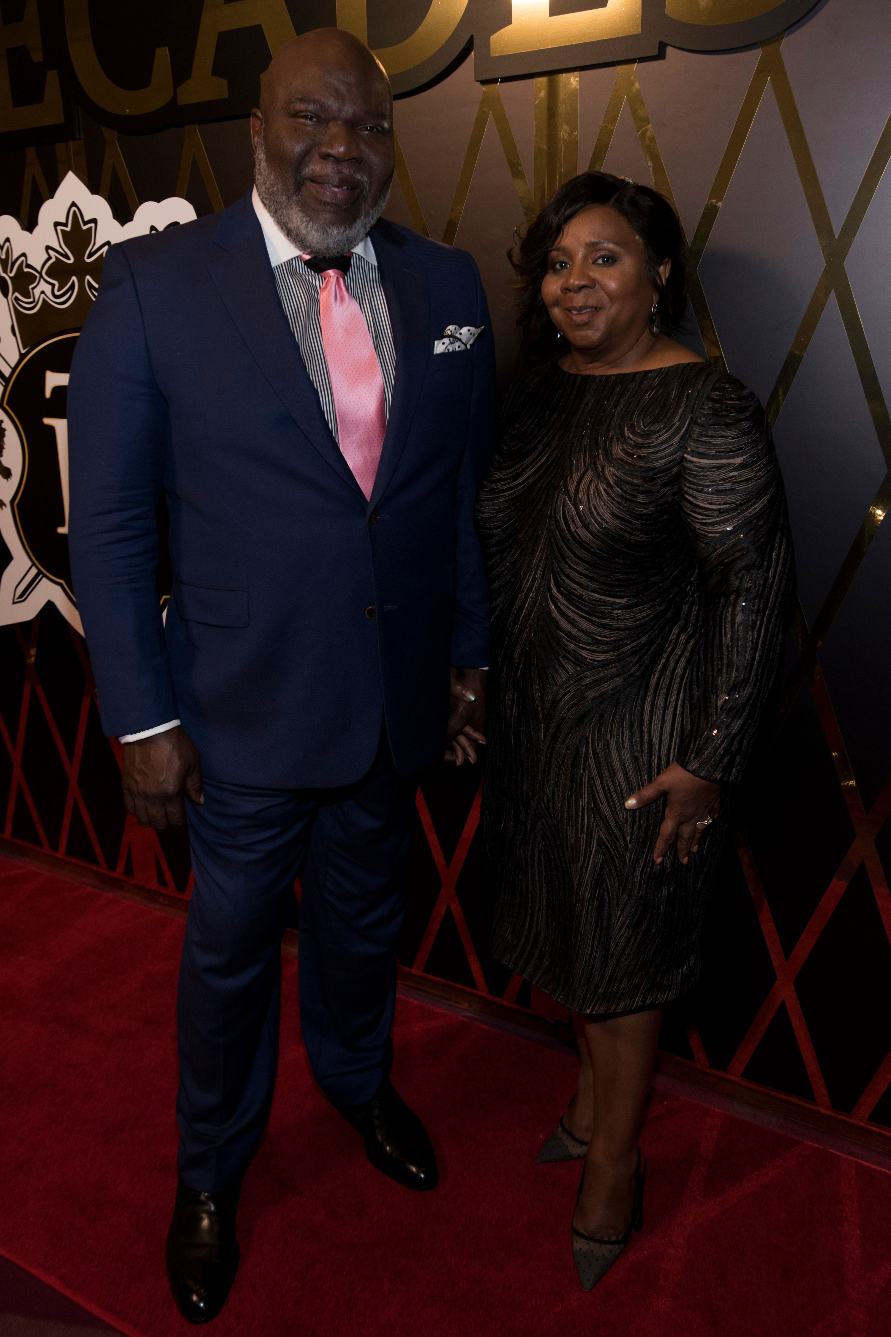 Bishop T.D. Jakes and his wife Serita Jakes pose for a photo at Bishop T.D. Jakes' surprise 60th birthday celebration at The Joule Hotel on June 30, 2017 in Dallas, Texas.   Source: Getty Images