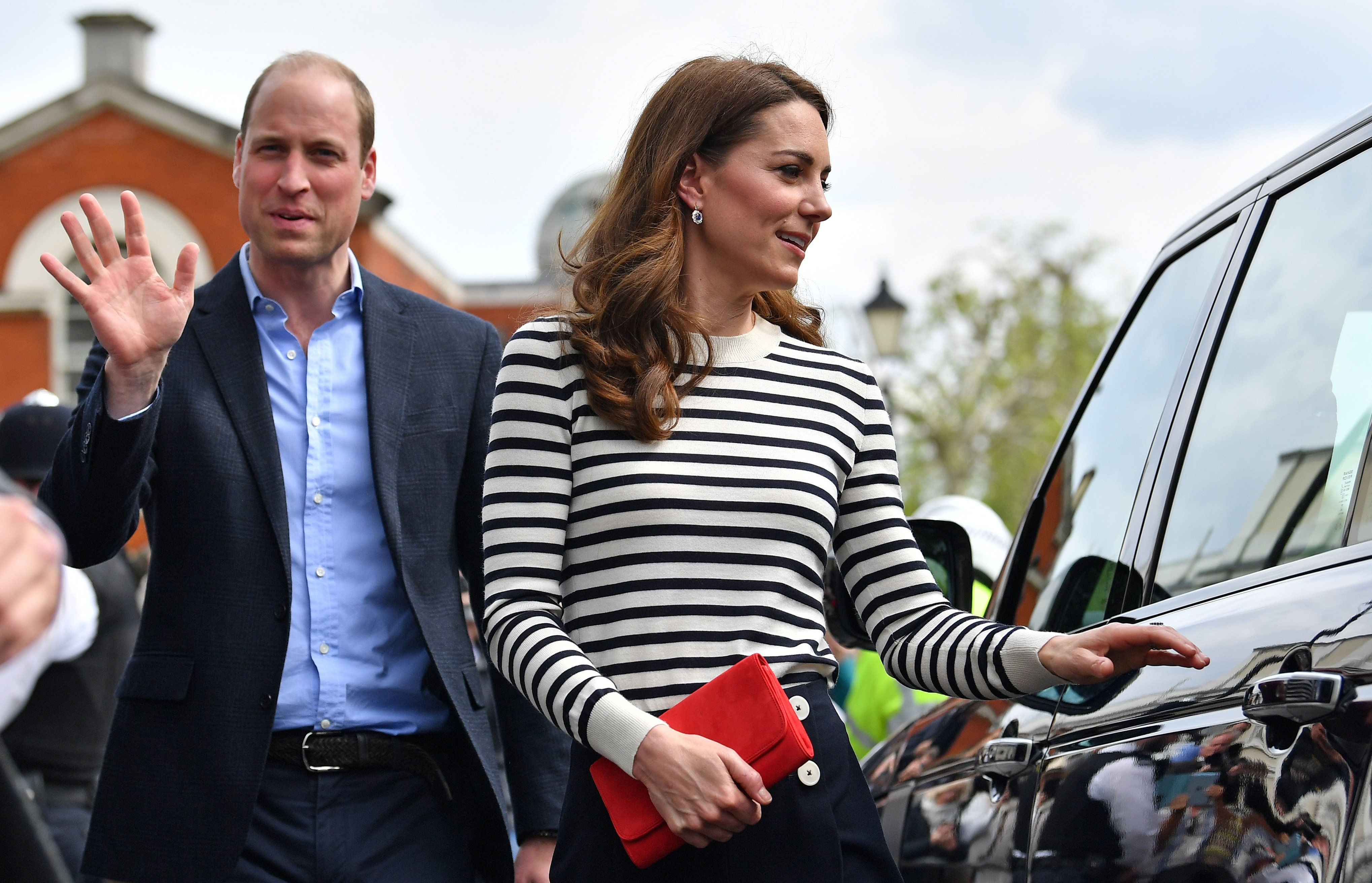 Prince William and Kate Middleton, sporting a nautical themed outfit, arrive at the King's Cup Regatta at Cutty Sark, Greenwich on May 7, 2019, in London, England. | Source: Getty Images.