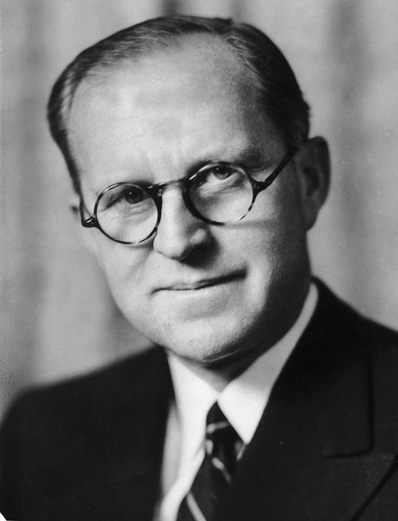Headshot portrait of American businessman and diplomat Joseph P. Kennedy   Photo: Getty Images