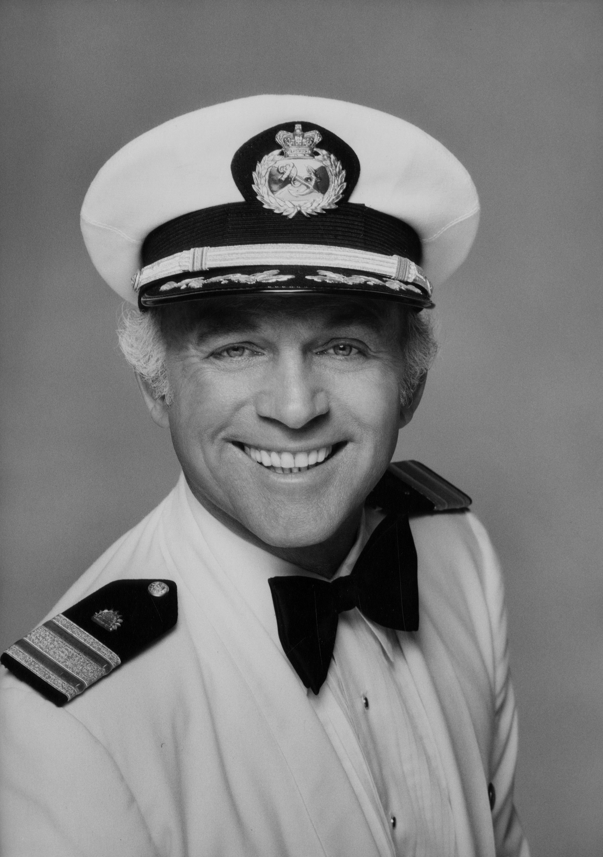 "Gavin MacLeod as Captain Stubing on the set of ""The Love Boat"" in 1978 