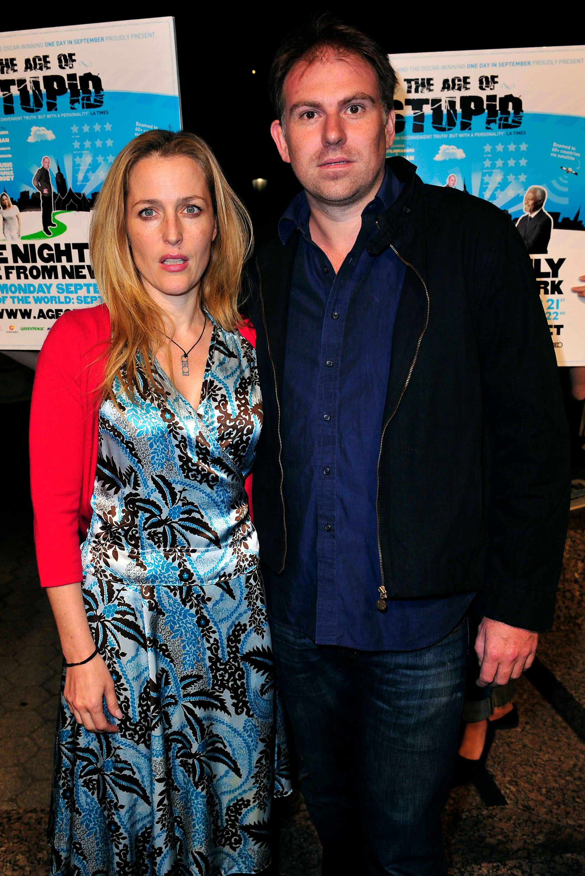 """Gillian Anderson and Julian Ozanne attend the global premiere of """"The Age Of Stupid."""" 