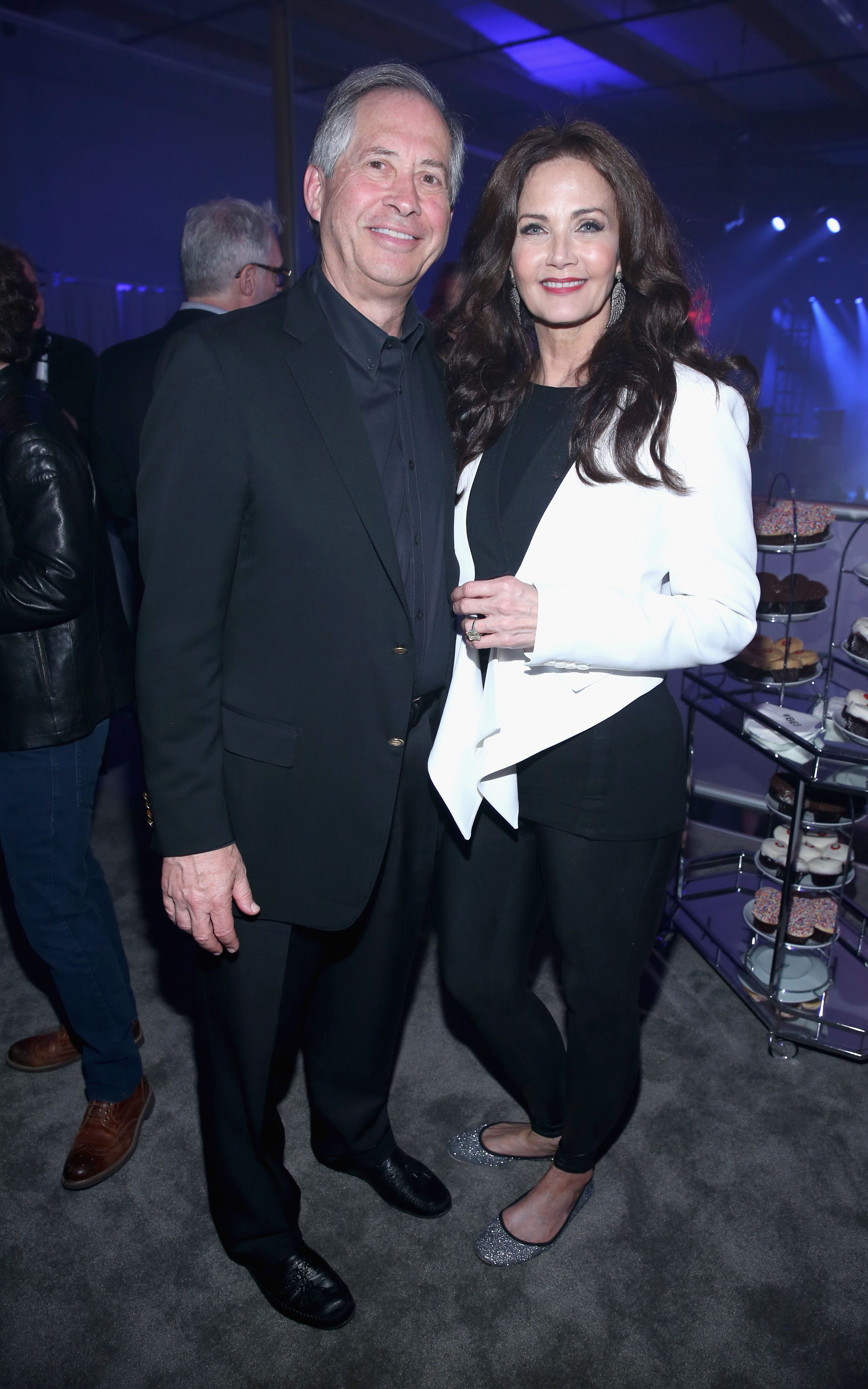 Robert A. Altman andLynda Carter atBethesda Softworks' new video game experiences at its E3 Showcase and BE3 Plus event in Los Angeles, California   Photo:Jonathan Leibson/Getty Images