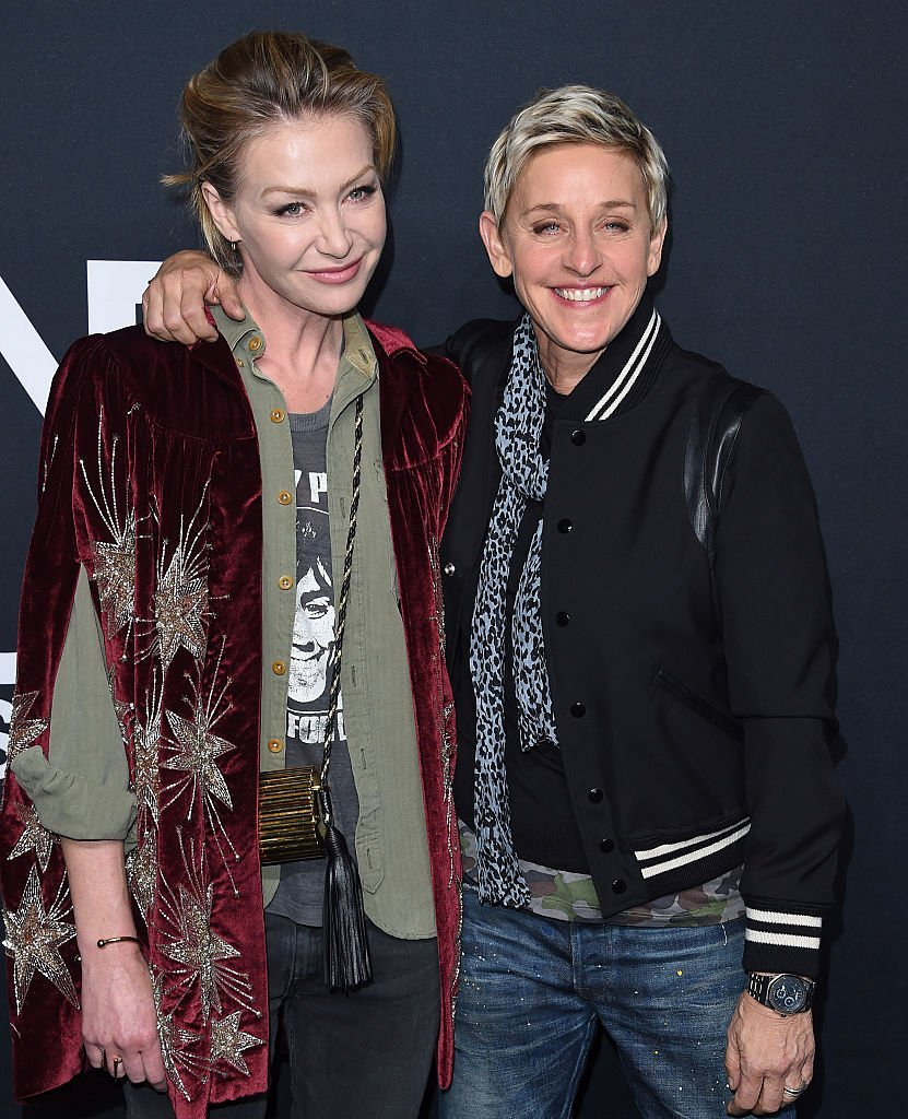 Actress Portia de Rossi and comedian Ellen DeGeneres arrive at SAINT LAURENT At The Palladium | Getty Images / Global Images Ukraine