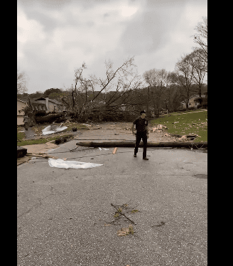 The damage created by a tornado that hit Alabama on footage captured by the Pelham Police Department. | Facebook/PelhamPoliceDepartment