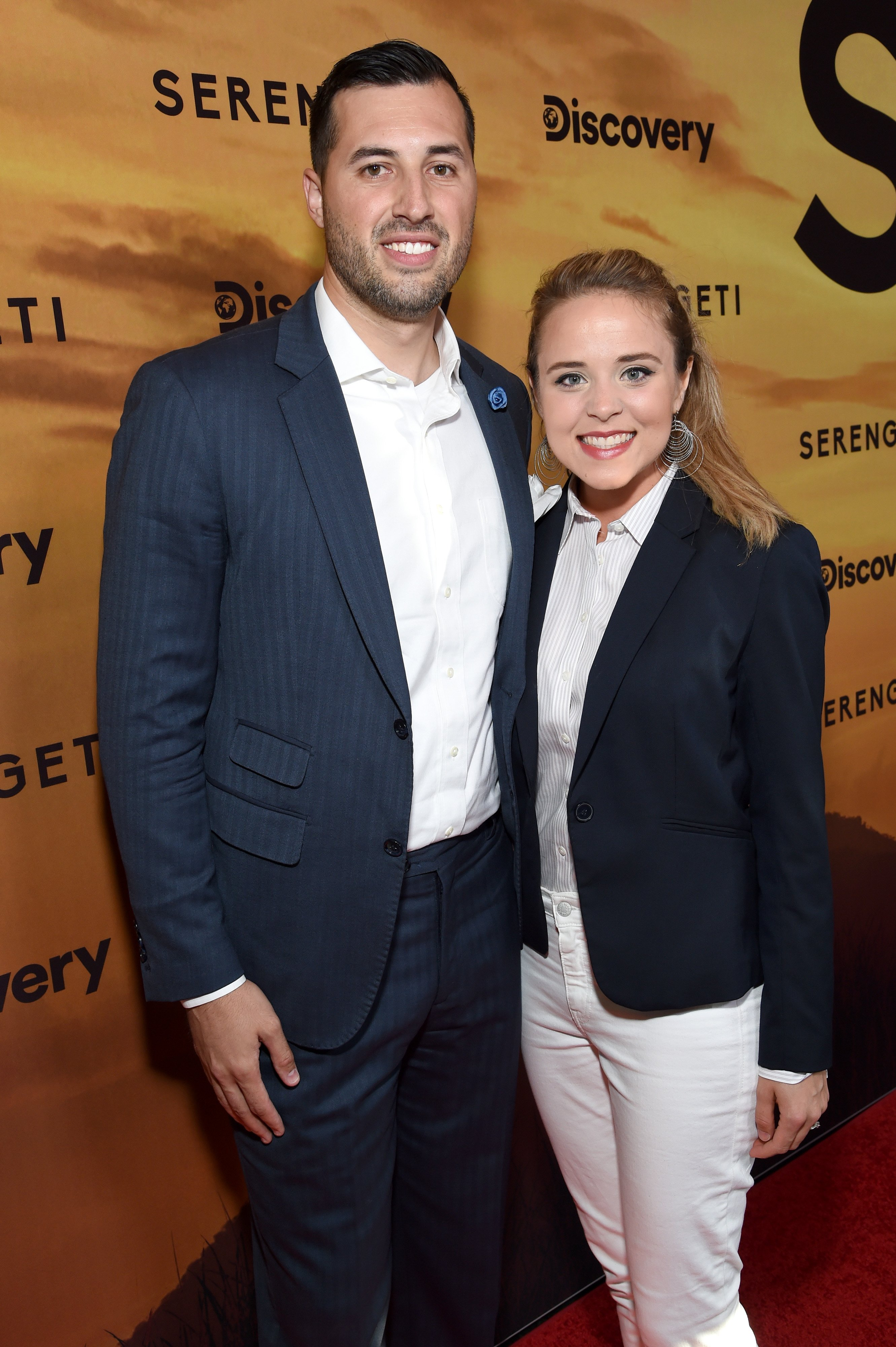 """Jeremy Vuolo and Jinger Duggar attend the premiere of """"Serengeti"""" in Beverly Hills, July, 2019.   Photo: Getty Images."""