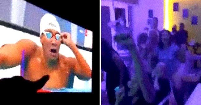 Ahmed Hafnaoui shocked during his victorious moment at the Tokyo Olympics. | Source: Twitter/SportsJOEdotie
