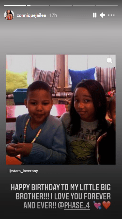 Screenshot showing a young Zonnique Pullins and Messiah Harris.| Source: Instagram/zonniquejailee