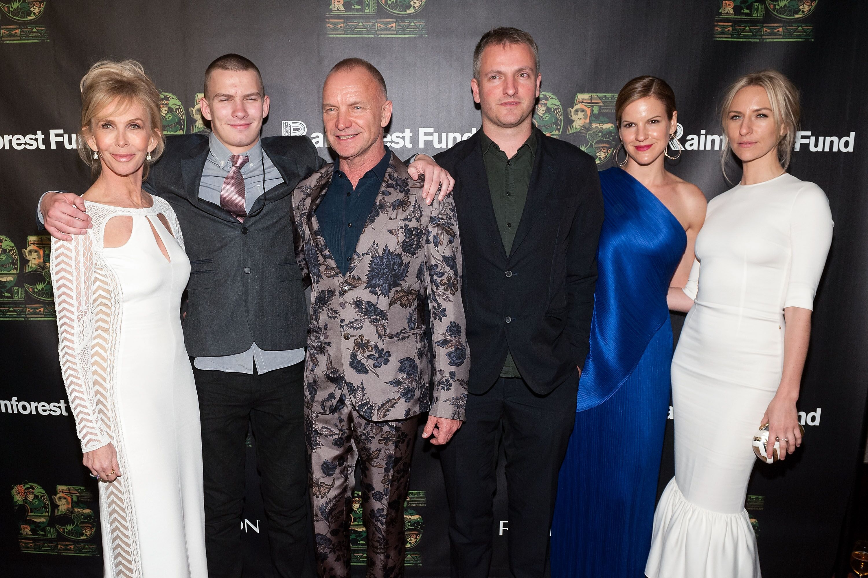 Trudie Styler, Giacomo Sumner, Sting, Joe Sumner, Fuchsia Sumner, and Mickey Sumner attend the after party for the 25th Anniversary Concert for the Rainforest Fund. | Source: Getty Images