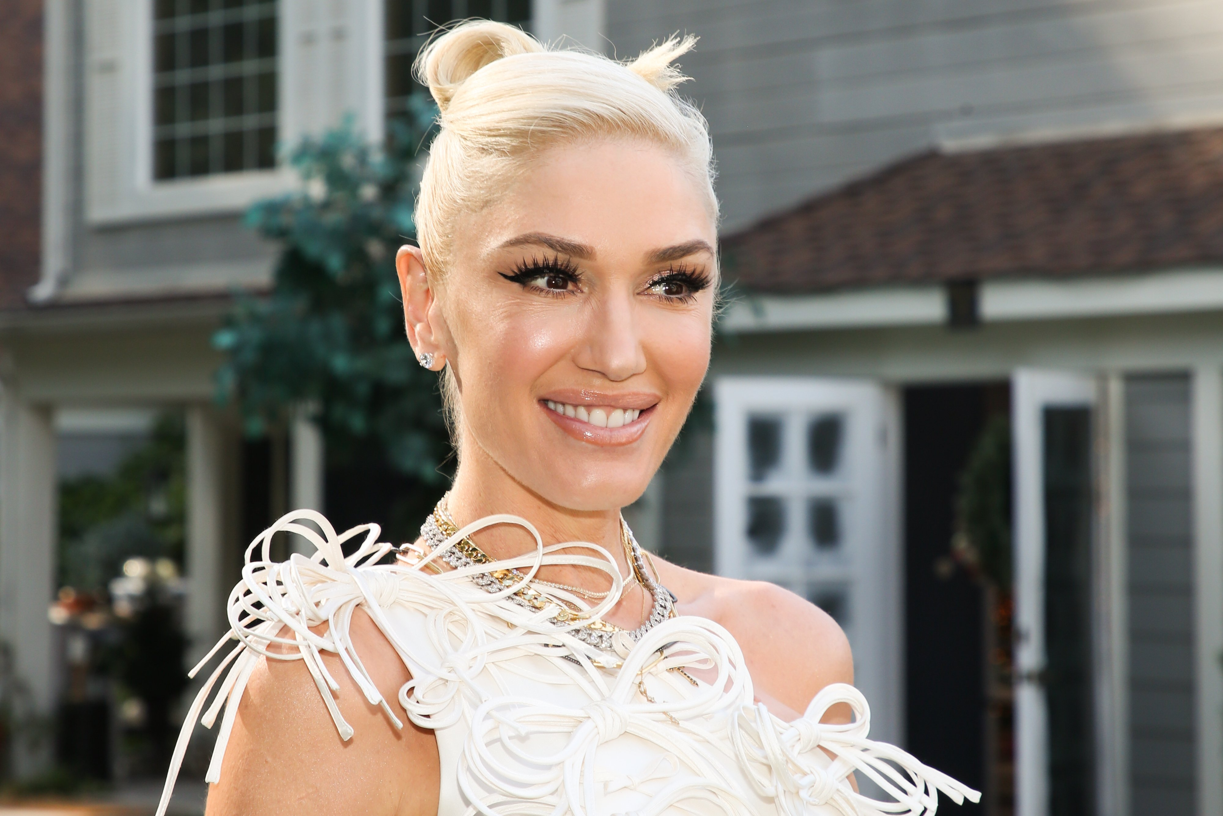 """Gwen Stefani visits Hallmark Channel's """"Home & Family"""" on December 02, 2020 in Universal City, California. 