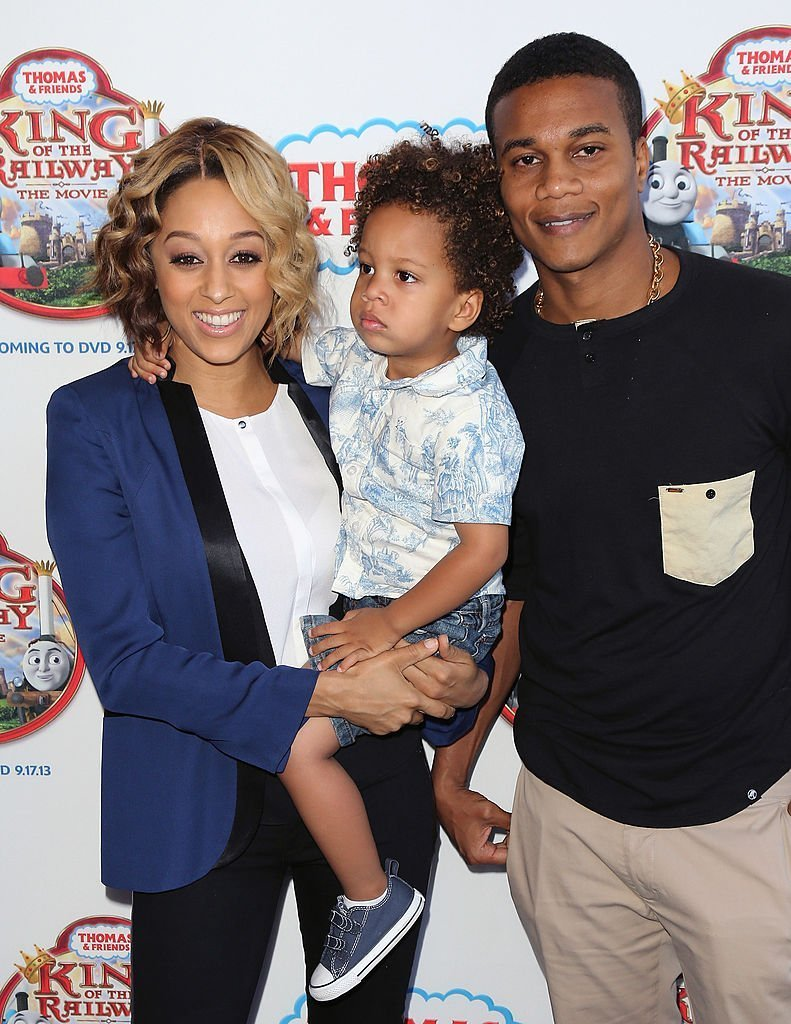 "Actress Tia Mowry-Hardrict, son Cree Hardrict and husband actor Cory Hardrict attend the premiere of HIT Entertainment's ""Thomas & Friends: King of the Railway"" at the Pacific Theatre at The Grove in Los Angeles, California 