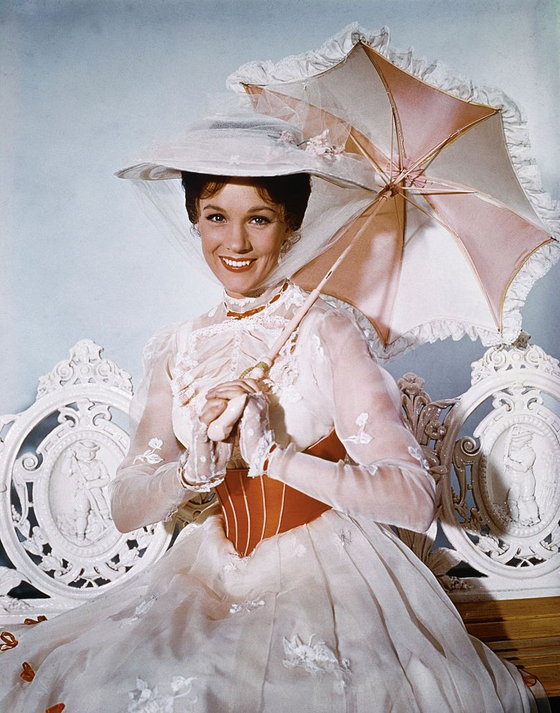 "Julie Andrews appears in the title role of the musical-fantasy, ""Mary Poppins."" 