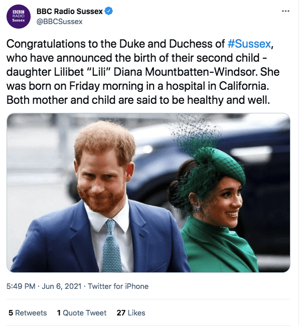 A screenshot of Prince Harry and Meghan Markle | Photo: twitter.com/BBC Radio Sussex