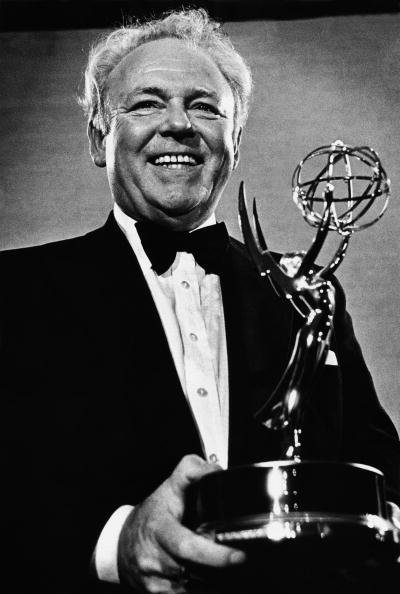 """Carroll O'Connor poses with the Emmy Award during the 1979 Pasadena, California, awards ceremony. O'Connor won the """"Best Actor in a Comedy"""" award for the final season of the hit show """"All in the Family."""" 