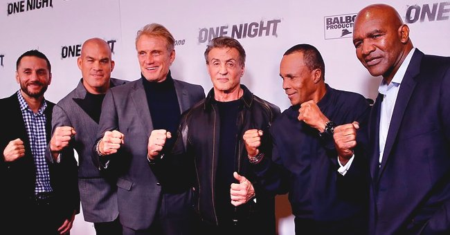 Sylvester Stallone Bumps Fists with 'Rocky' Rival Dolph Lundgren at 'One Night: Joshua vs Ruiz' Premiere