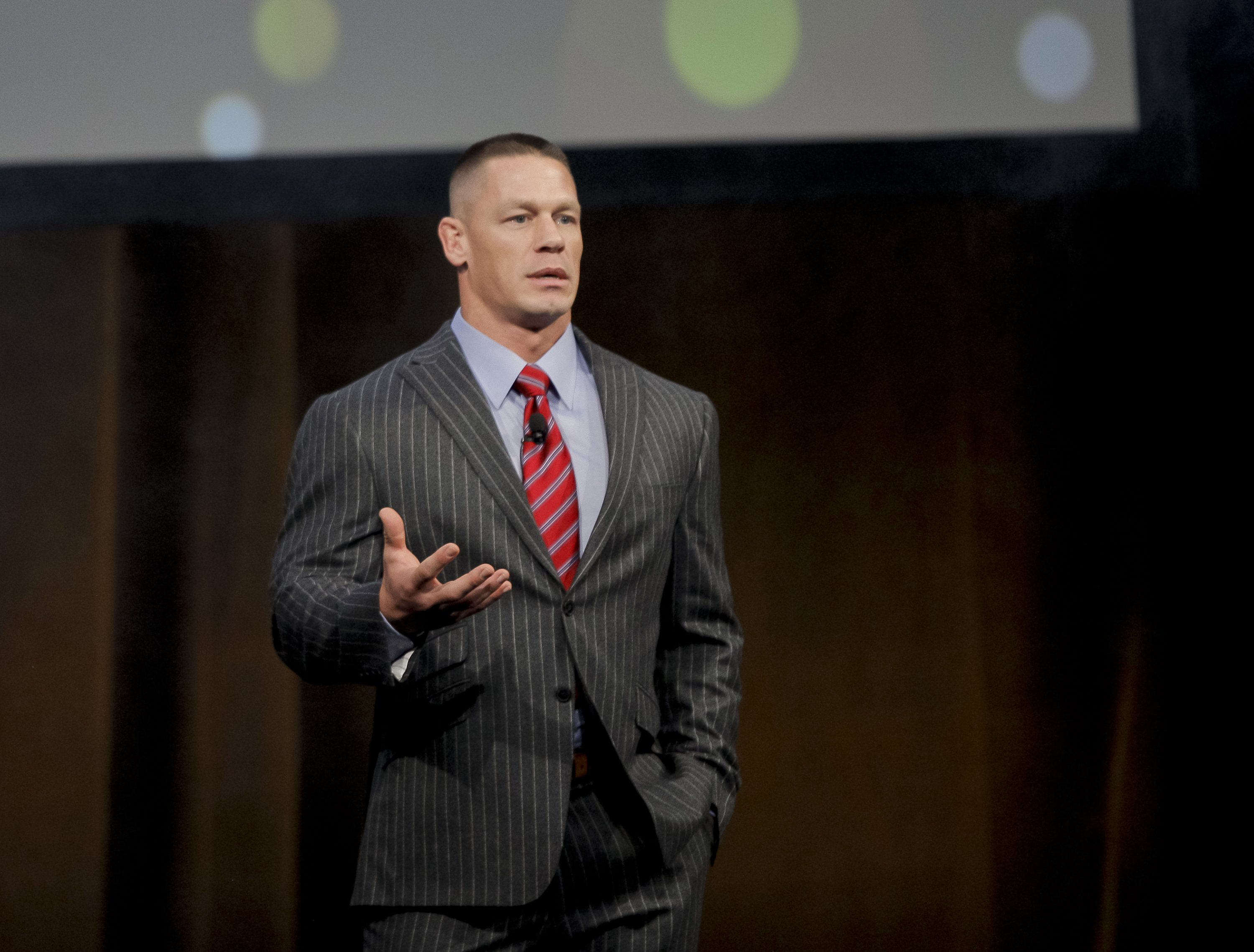 John Cena speaks during the final day luncheon and special program 'Amazon Studiosat Caesars Palace during CinemaCon on March 30, 2017, in Las Vegas, Nevada. | Source: Getty Images.