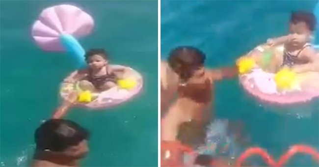 The 1-year-old girl being saved by a lifeguard in Kelibia, Tunisia   Photo: Facebook.com/Kélibia-Tube