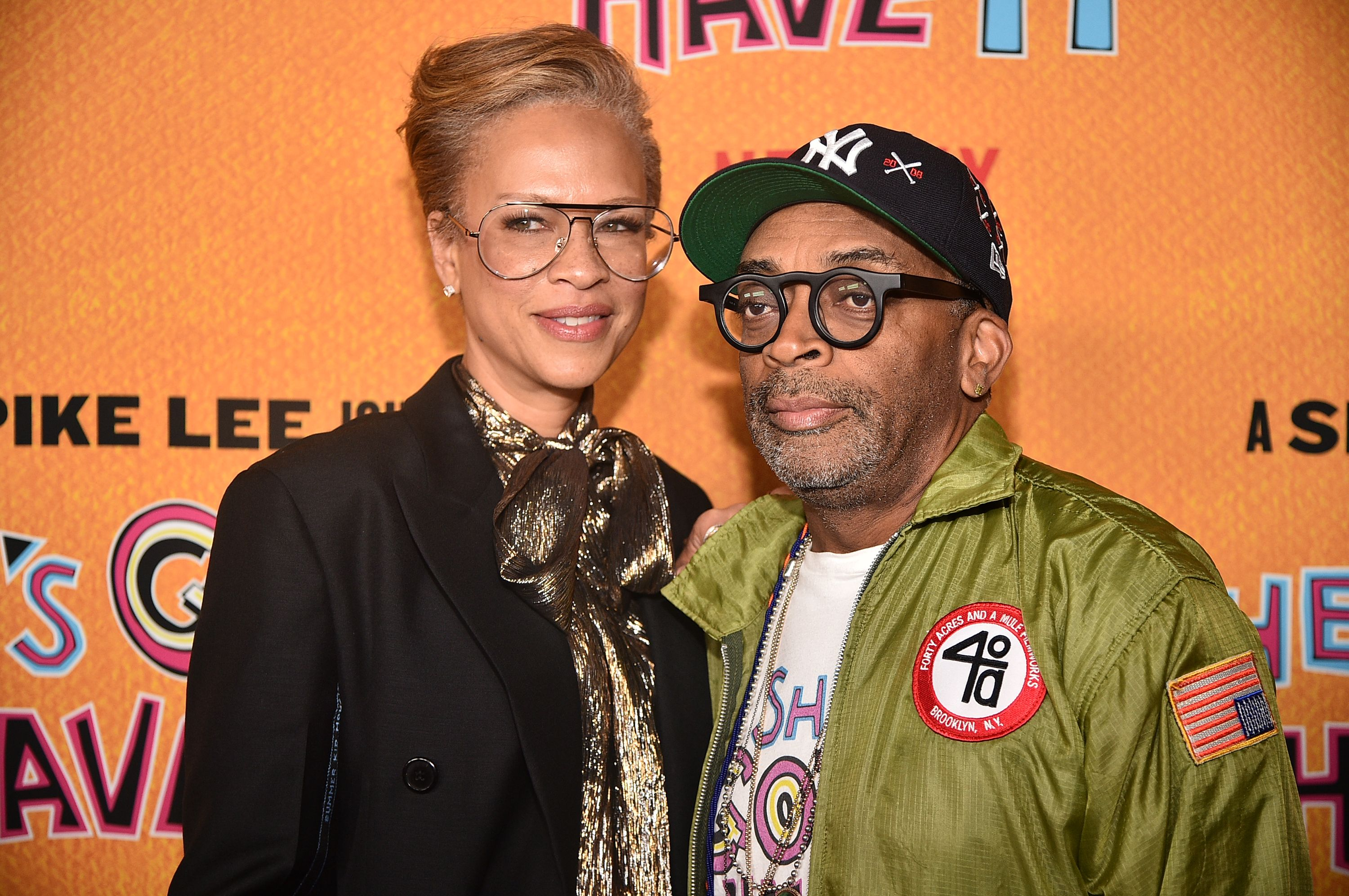 "Tonya Lee Lewis and Spike Lee at the ""She's Gotta Have It"" Season 2 Premiere in Brooklyn, New York in 2019. 