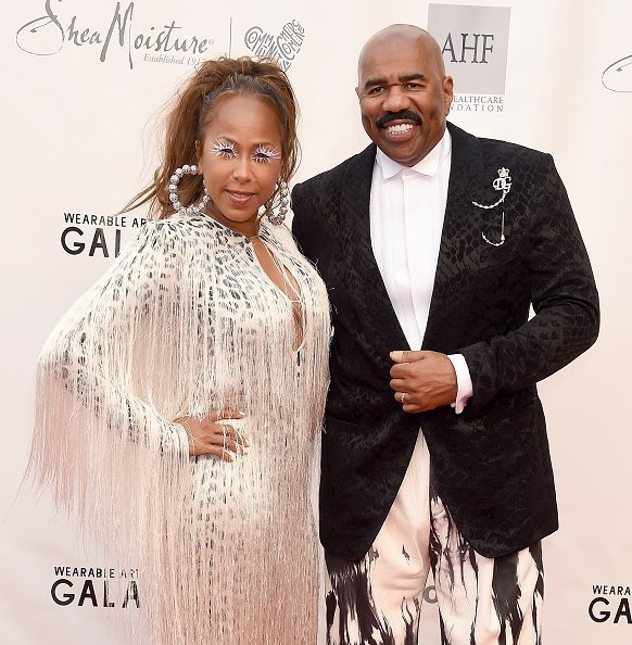 Steve Harvey and Marjorie Elaine Harvey at the WACO Theater Center's 3rd Annual Wearable Art Gala in Santa Monica, California.| Photo: Getty Images.