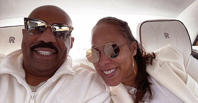Steve Harvey's Wife Is a Proud Mom Posing in Front of Lori's Billboard Ad for Naked Wardrobe