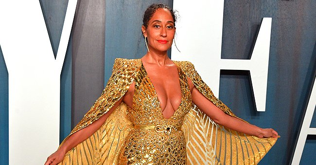 Tracee Ellis Ross from 'Black-ish' Turns Heads in Plunging Golden Gown & Matching Heels at Vanity Fair Oscars After-Party