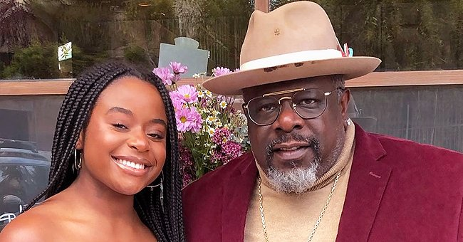 Cedric the Entertainer Poses with His Daughter Lucky in an off-Shoulder Pink Dress