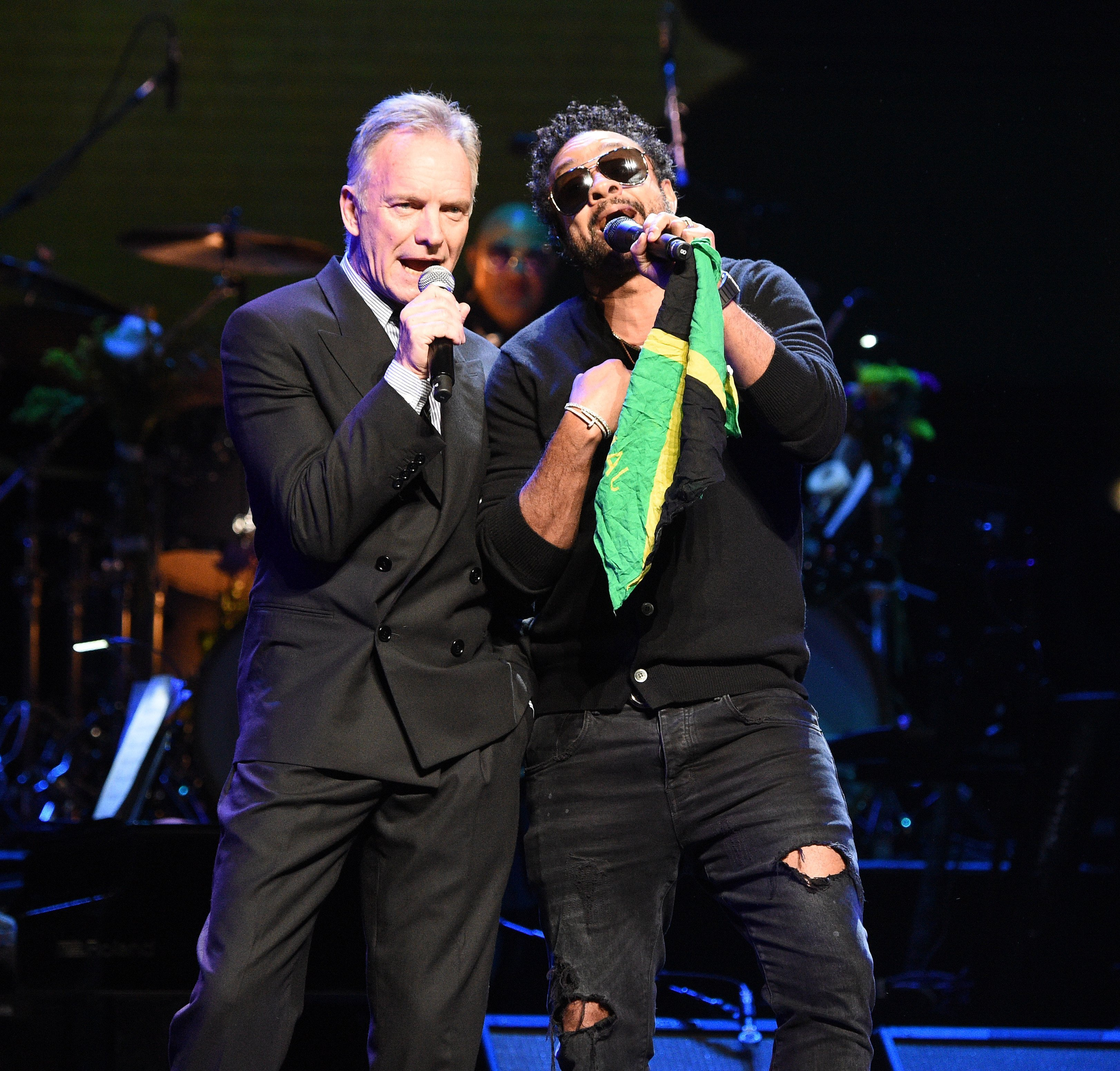 Sting and Shaggy perform onstage during The Rainforest Fund 30th Anniversary Benefit Concert. | Source: Getty Images.