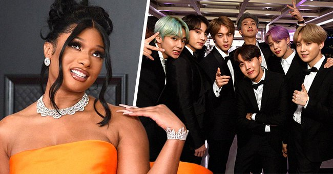 Megan Thee Stallion and BTS at the 63rd and 61st Annual Grammy Awards, 2021 & 2019 | Source: Getty Images