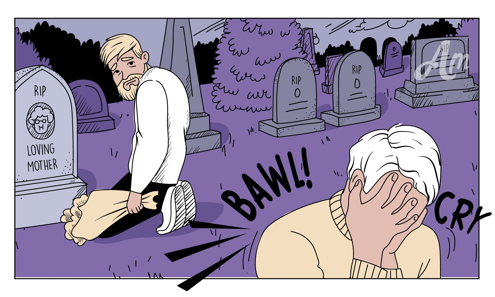 Joke in Pictures: Man Leaving a Cemetery Notices Another Person Kneeling at a Grave
