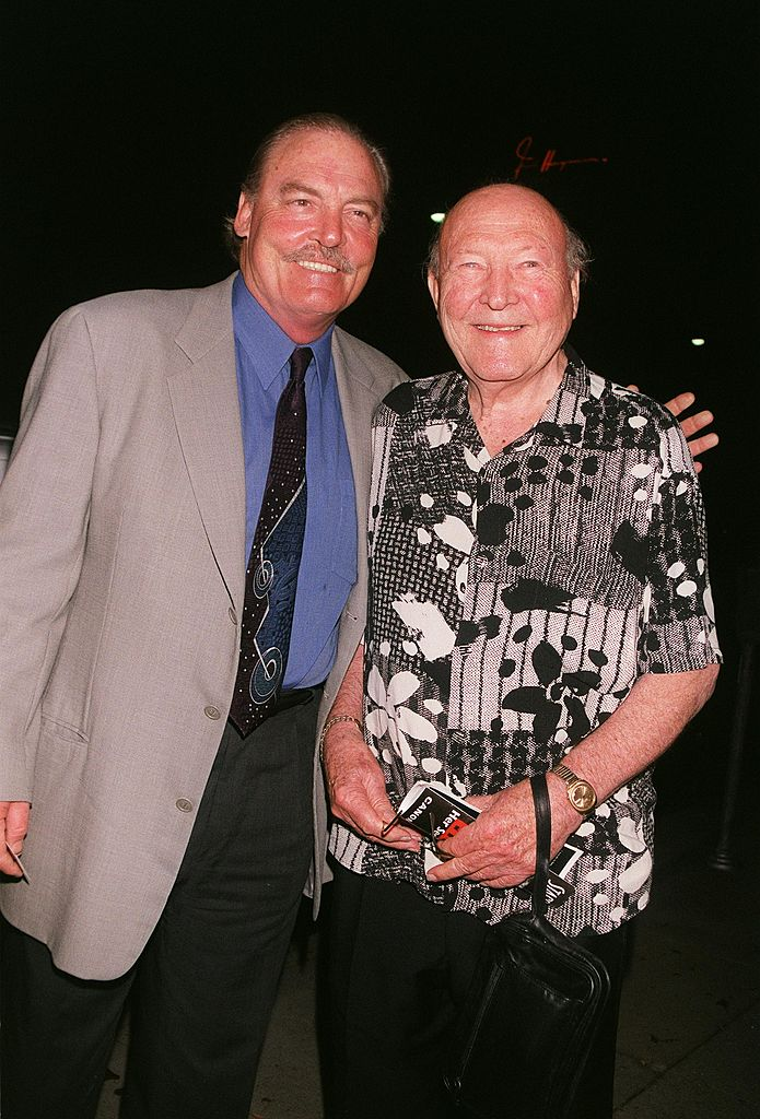 """Stacy Keach and his father, Stacy Keach, Sr. arrive at the premiere of the play, """"Eleanor: Her Secret Journey"""", September 2003   Source: Getty Images"""