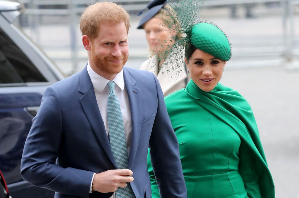 Prince Harry and Meghan Markle pictured at the 2020 Commonwealth Service, England. | Photo: Getty Images
