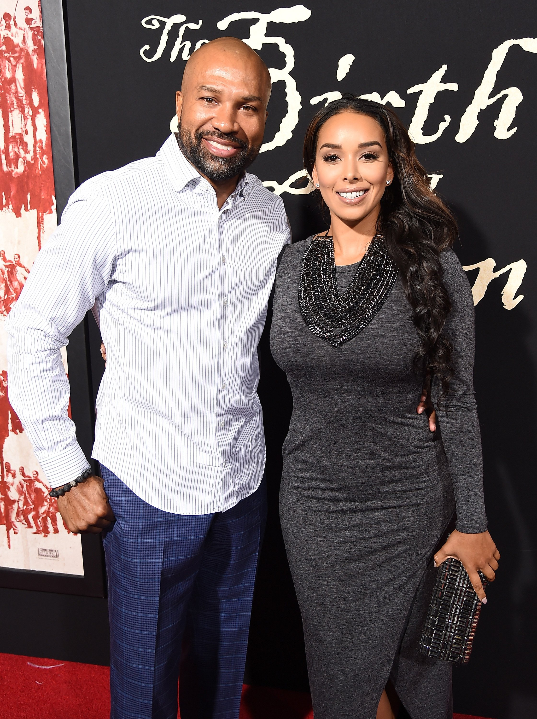 """Derek Fisher and Gloria Govan attend the premiere of """"The Birth of a Nation"""" on September 21, 2016 in Hollywood, California. 