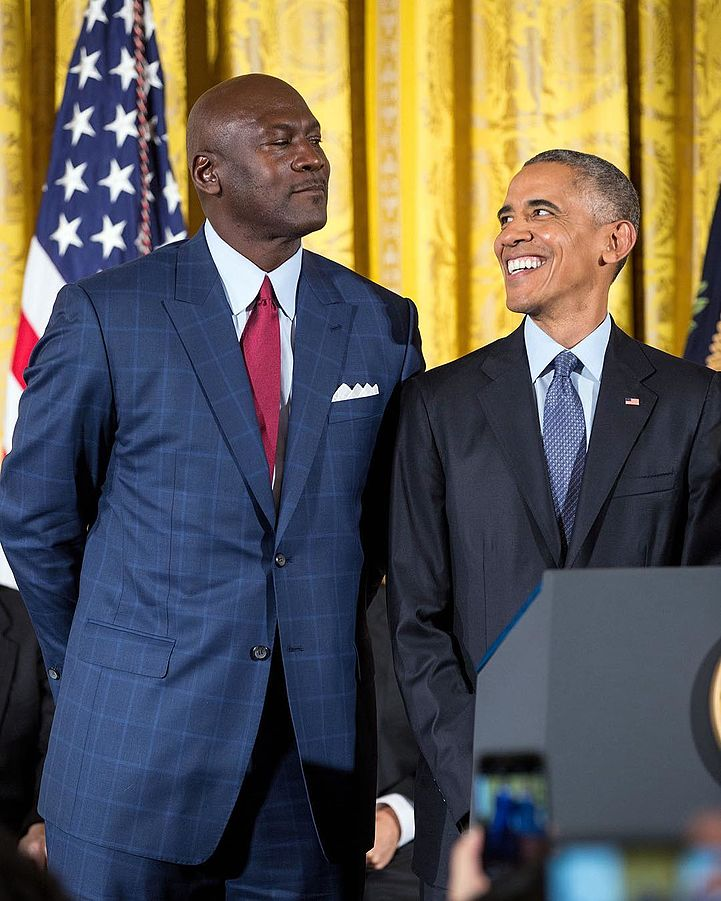 Michael Jordan and Barack Obama at the White House in 2016   Source: Wikimedia Commons