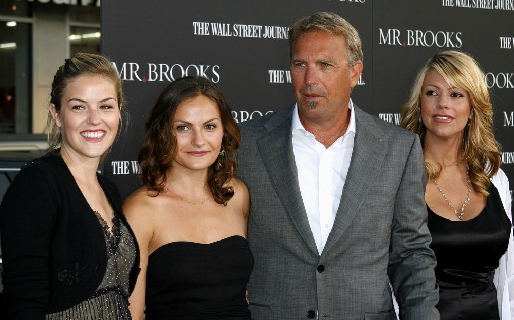 """Kevin Costner, wife Christine and his daughters Lily and Annie at the premier of """"Mr Brooks"""" in Los Angeles in 2007 