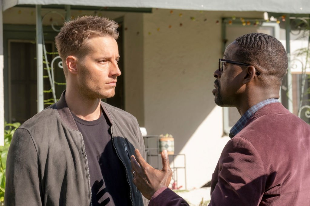 """This Is Us""- ""Strangers: Part Two"" Episode 418 --Justin Hartley as Kevin, Sterling K. Brown as Randall 