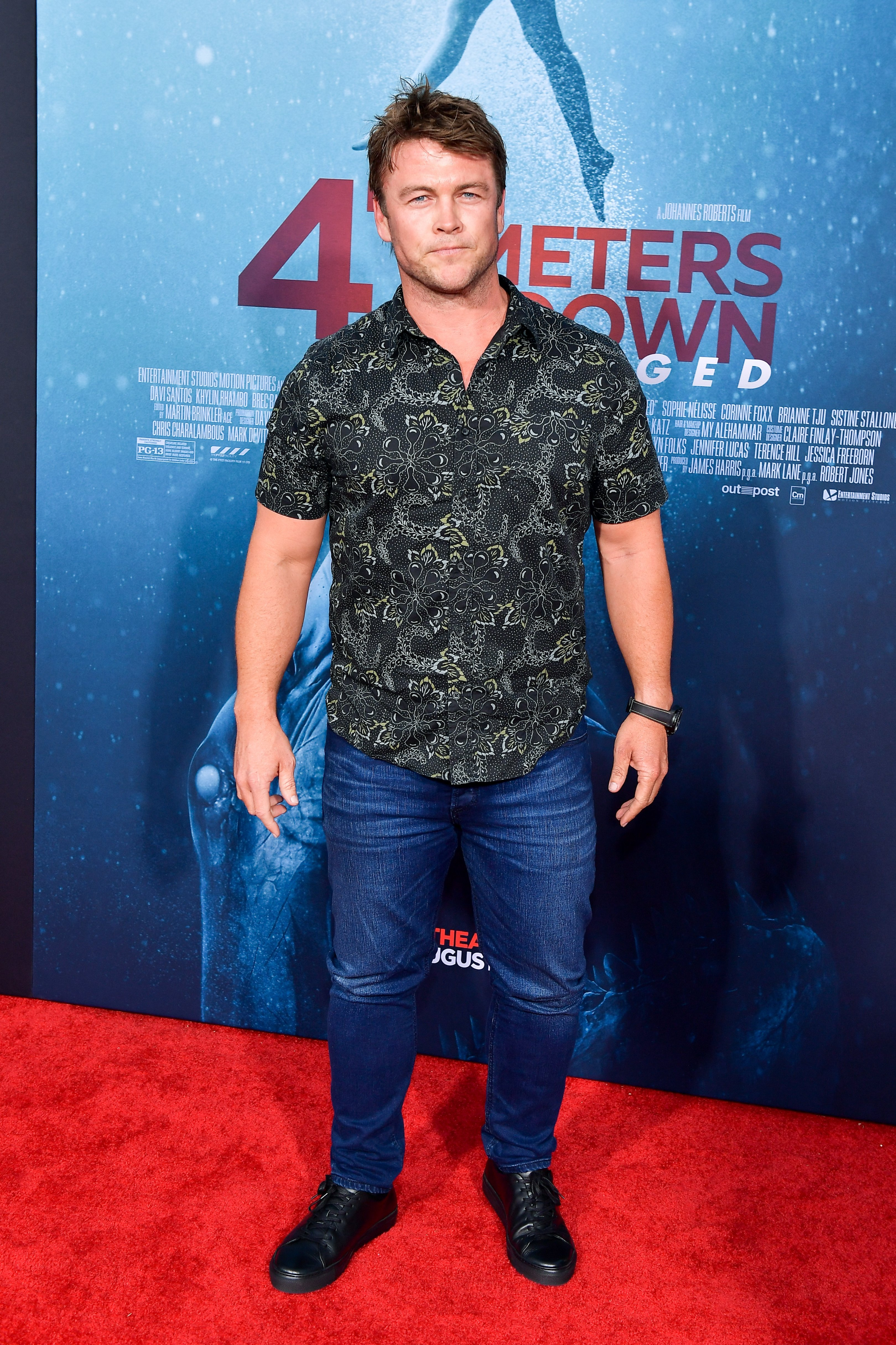 """Luke Hemsworth attends the LA Premiere of Entertainment Studios' """"47 Meters Down Uncaged"""" at Regency Village Theatre on August 13, 2019, in Westwood, California. 