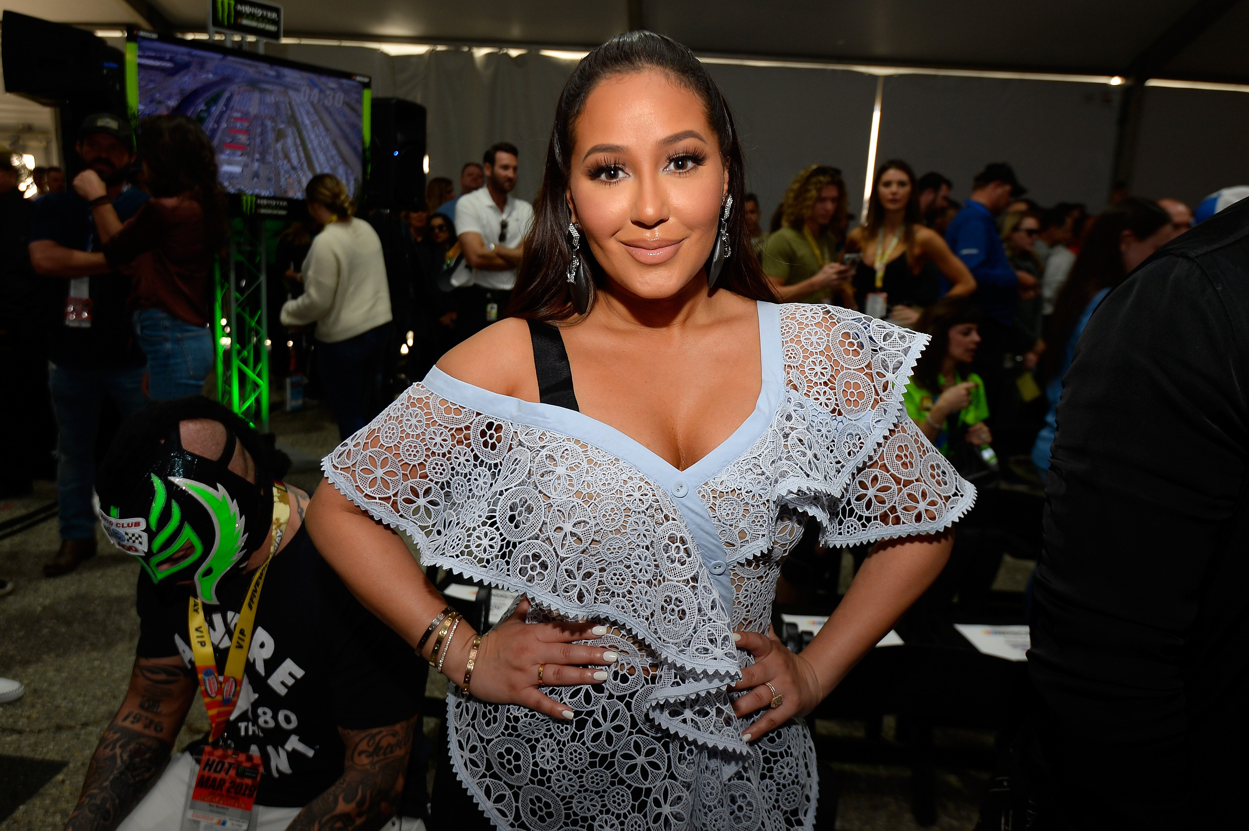 Adrienne Houghton attends the driver's meeting prior to the Monster Energy NASCAR Cup Series Auto Club 400 at Auto Club Speedway on March 17, 2019 | Photo: GettyImages