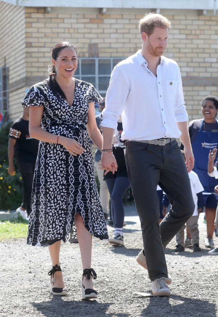 Meghan Markle and Prince Harry visit a Justice Desk initiative in Nyanga township.   Source: Getty Images