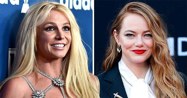 """Britney Spears attends the 29th Annual GLAAD Media Awards and Emma Stone at the Los Angeles premiere of Disney's """"Cruella"""" , April 2018 and May 2021   Source: Getty Images"""