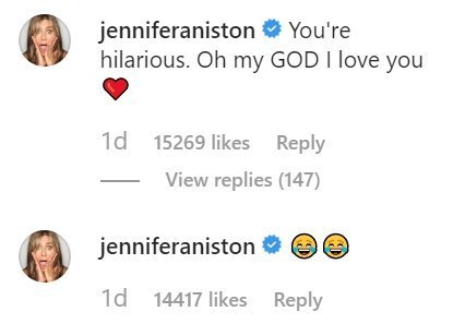Jennifer Aniston comments under Courteney Cox's Instagram post | Photo: Instagram/ Courteney Cox