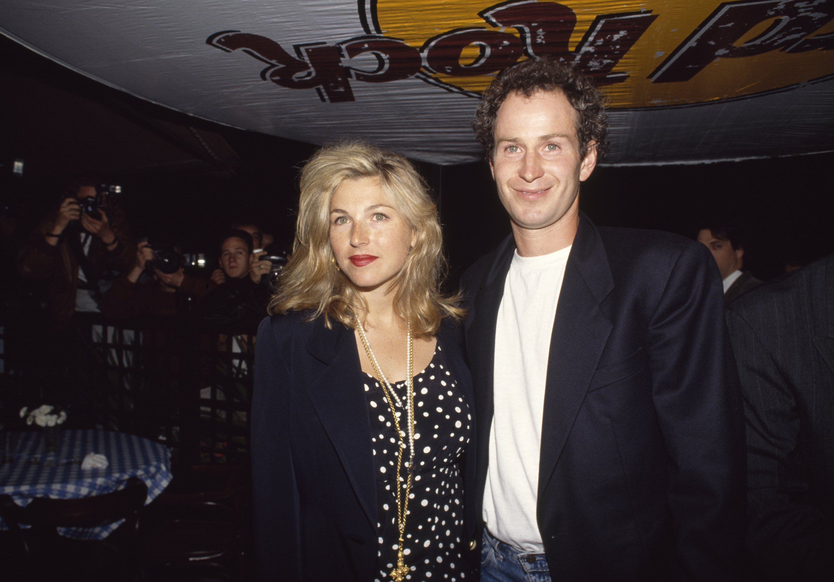 John McEnroe and Tatum O'Neal during the US Open Players' Party at the Hard Rock Cafe in New York, USA circa September 1990. | Photo by Professional Sport/Popperfoto via Getty Images