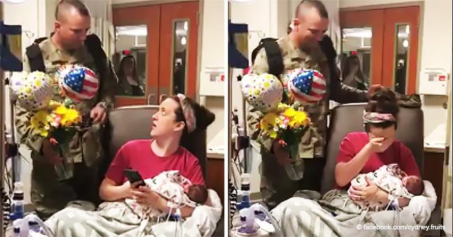 Mutter kann nur weinen, als ihr Militärgatte Welt bereist, um neugeborene Zwillinge zu sehen