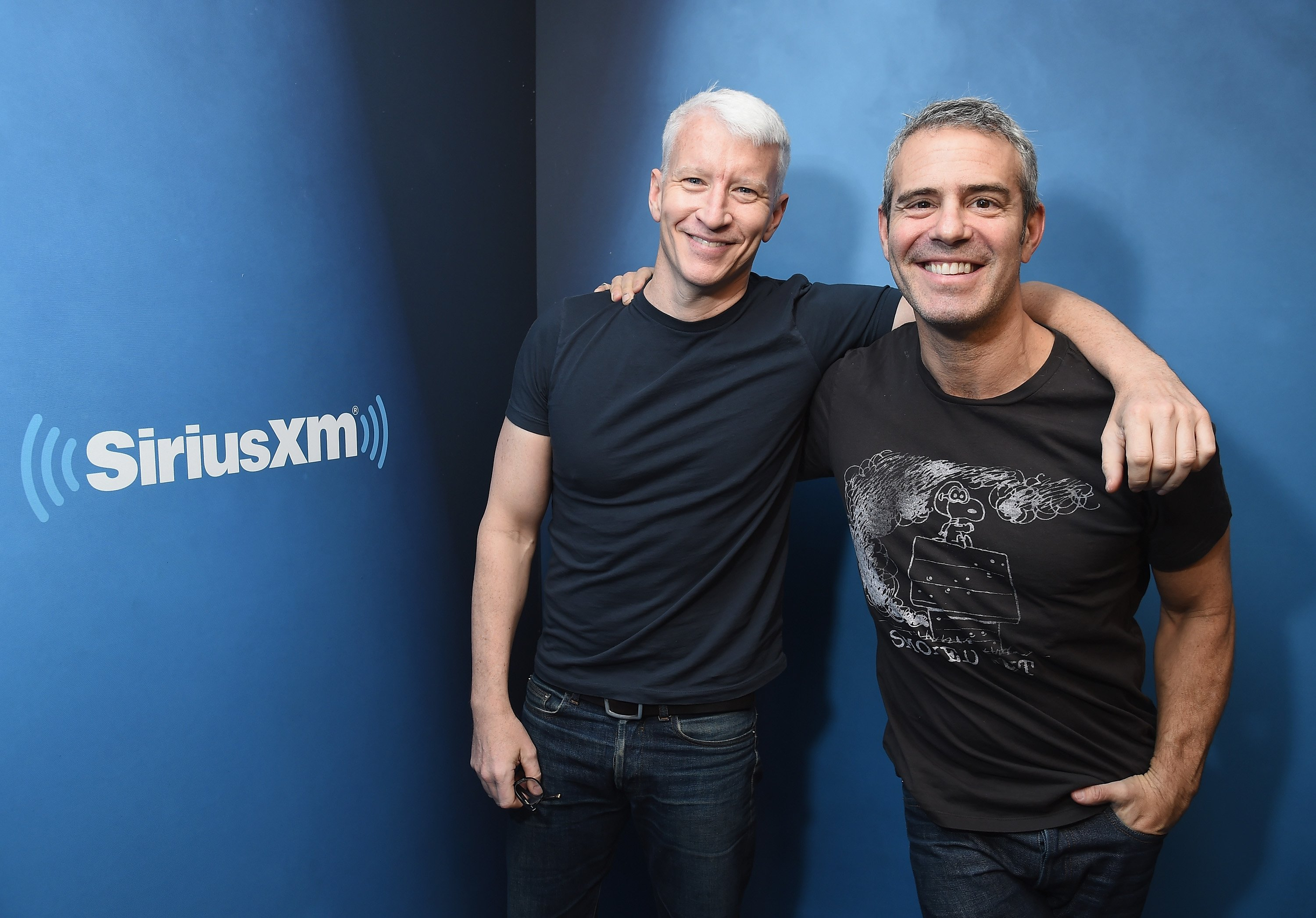 Anderson Cooper and host Andy Cohen at SiriusXM Studios on January 13, 2017, in New York City. | Source: Getty Images.