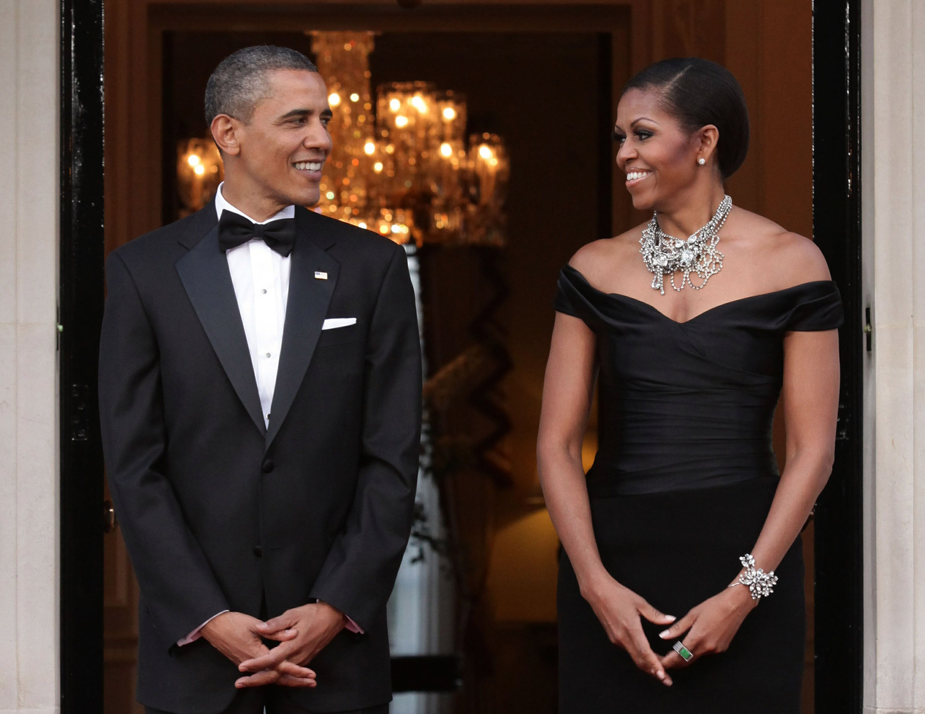 Getty Images / Barack and Michelle Obama in Regent's Park In This Photo: Michelle Obama, Barack Obama President Barack Obama and First Lady Michelle Obama welcome Queen Elizabeth and Prince Philip, Duke of Edinburgh, at Winfield House in Regent's Park for their farewell dinner on May 26, 2011