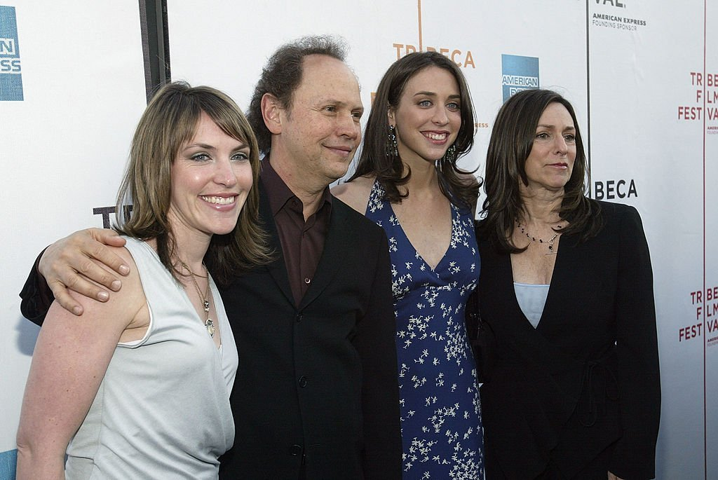 """Billy Crystal, his wife Janice Crystal, and daughters director Lindsay Crystal (2nd R) and Jennifer Crystal Foley attend the premiere of """"My Uncle Berns"""" during the Tribeca Film Festival  