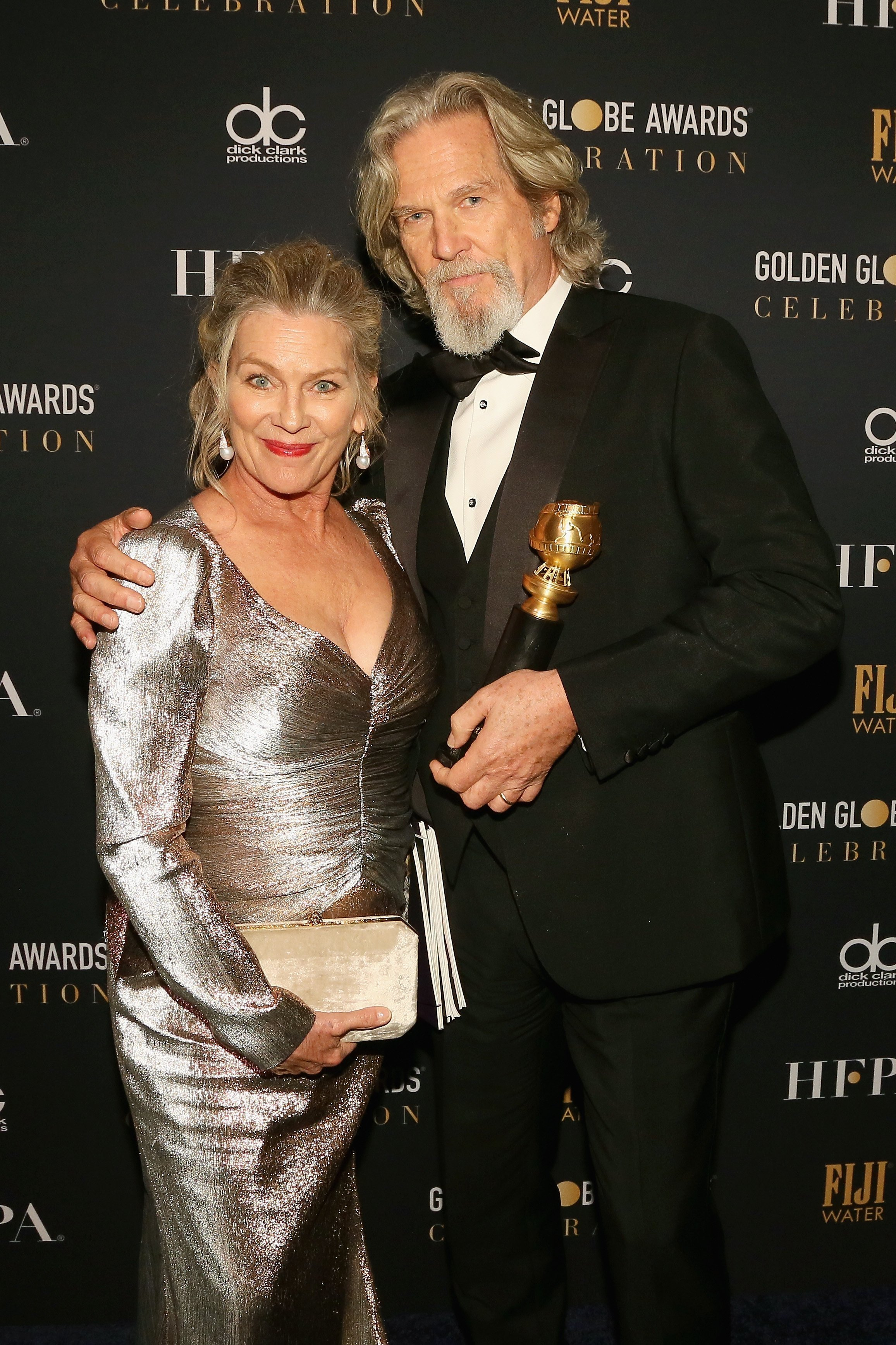 Jeff Bridges and Susan Geston attend FIJI Water at the 76th Annual Golden Globe Awards Celebration on January 6, 2019, in Los Angeles, California. | Source: Getty Images.